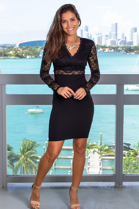 Black Lace Long Sleeve Short Dress