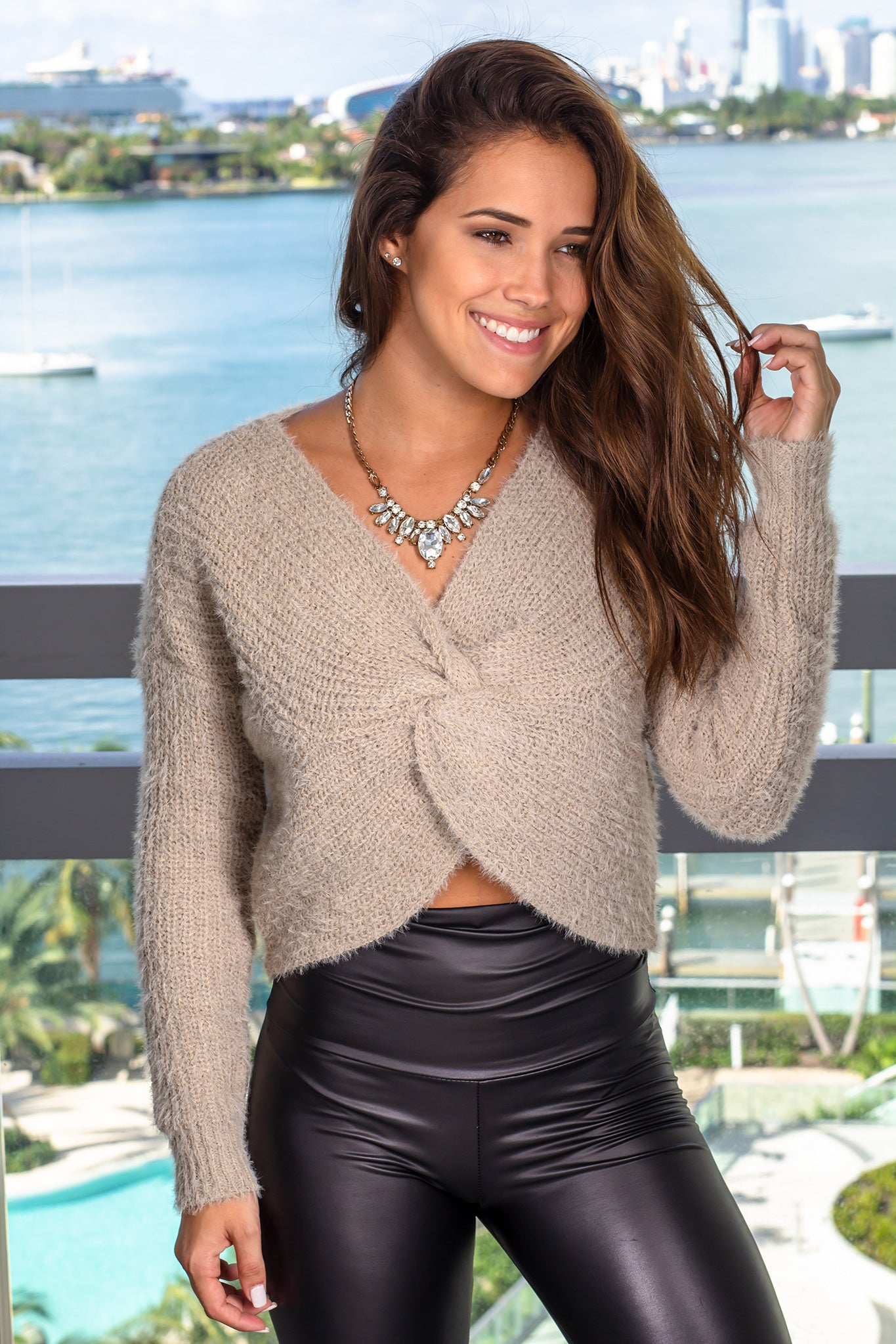 Khaki Sweater with Front Twist