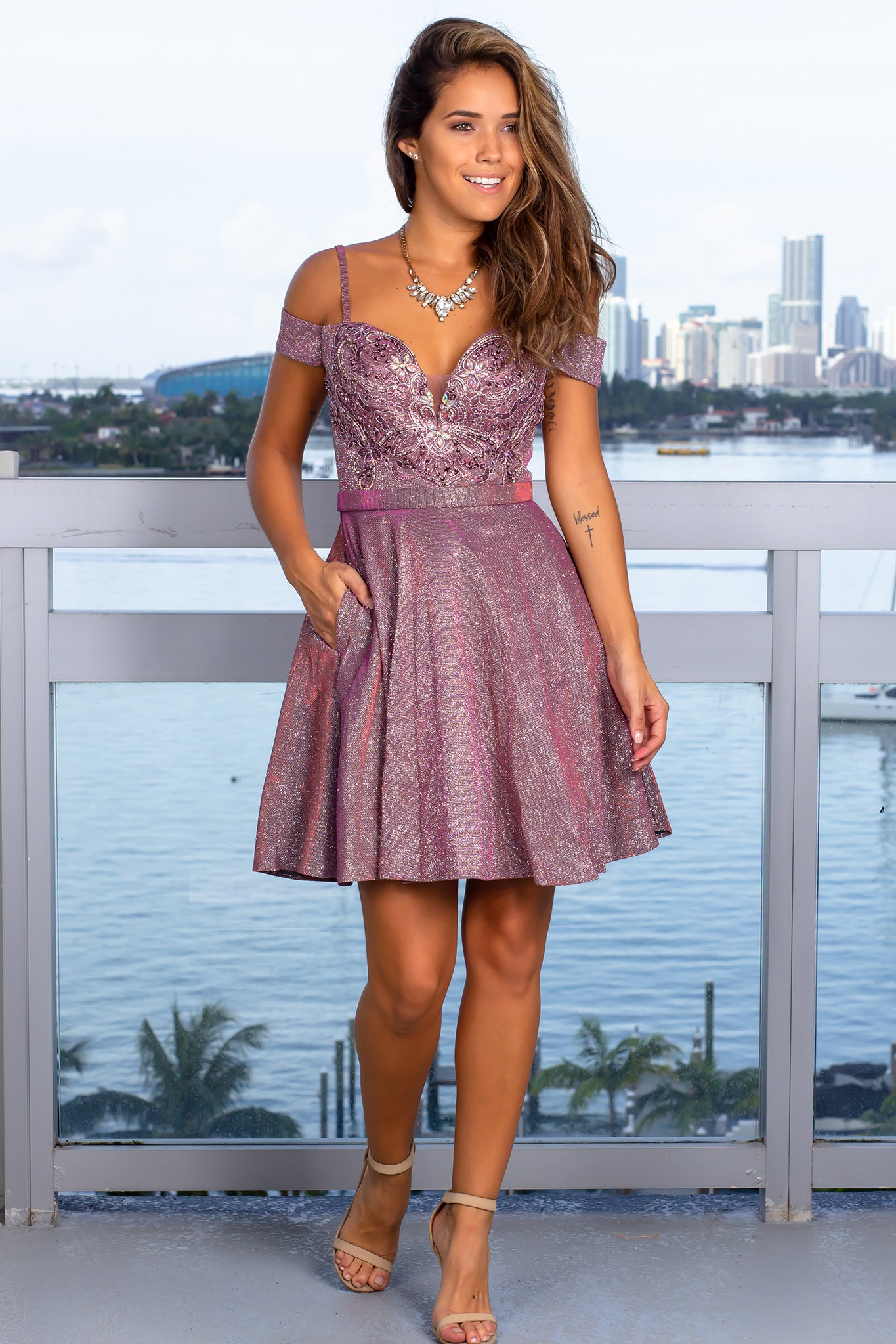 Wine Shimmer Off Shoulder Short Dress