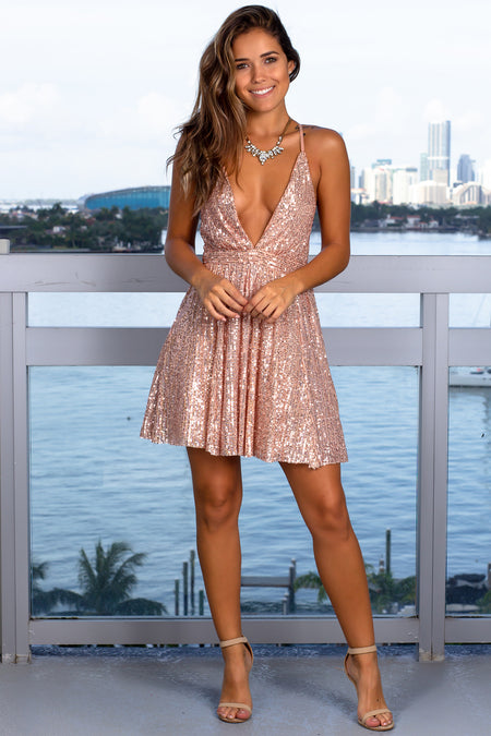 Rose Gold V-Neck Sequin Short Dress