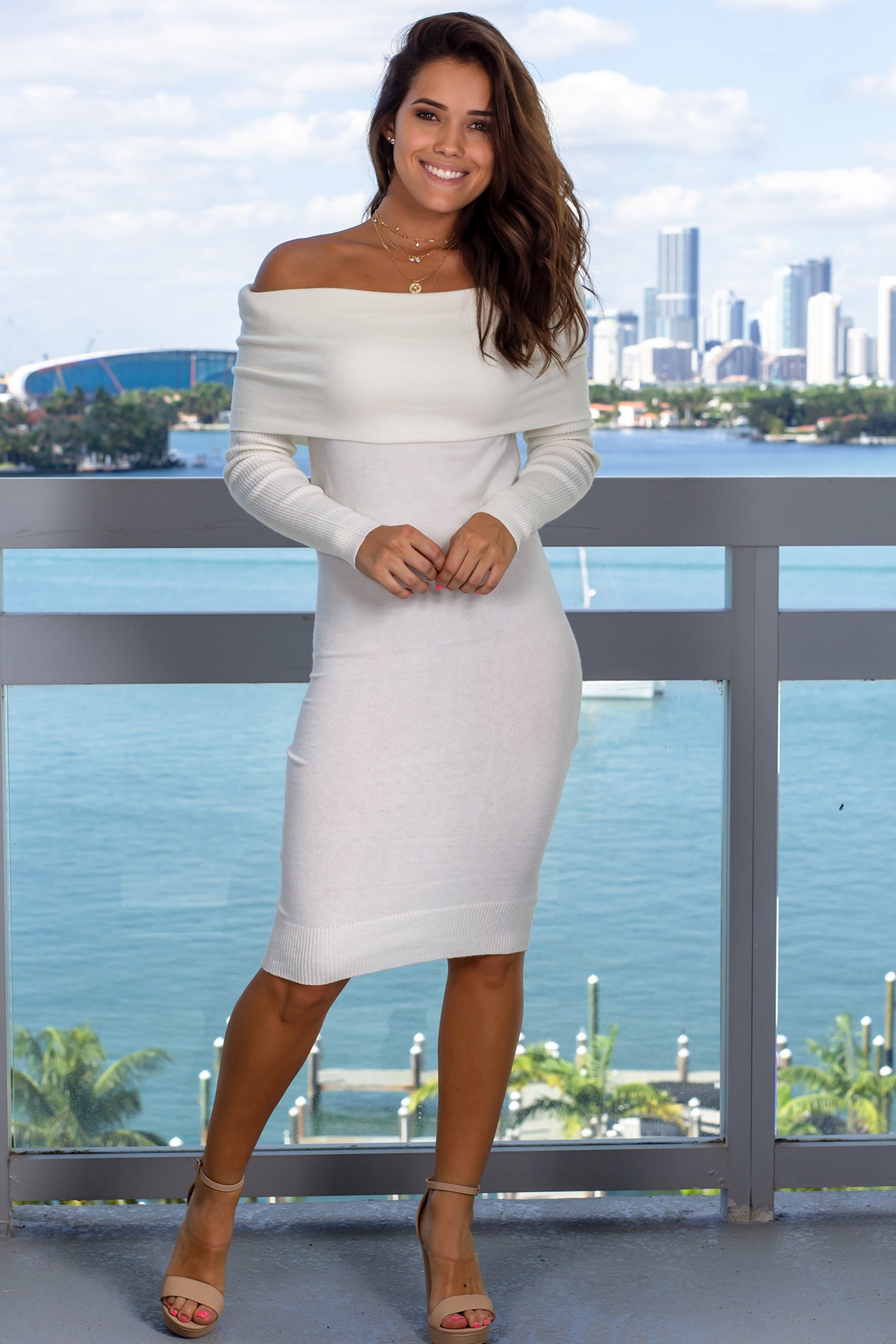 Ivory Off Shoulder Midi Dress