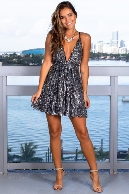 Black and Silver V-Neck Sequin Short Dress
