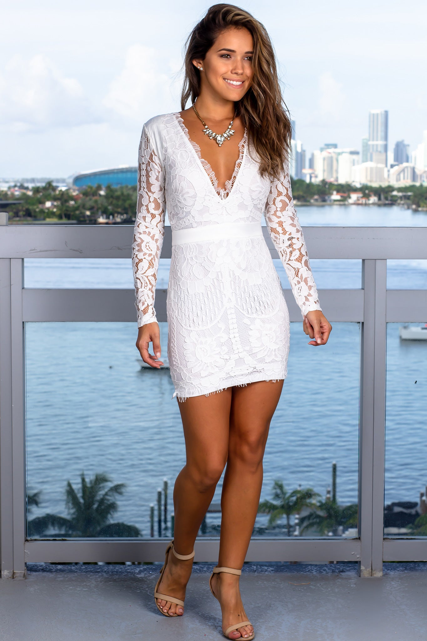 White V-Neck Short Dress with Long Sleeves