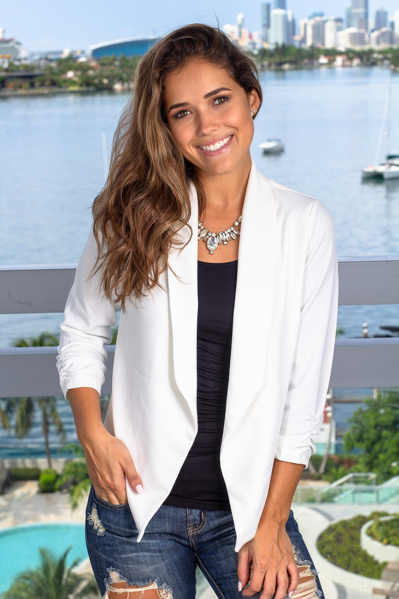 White Open Blazer