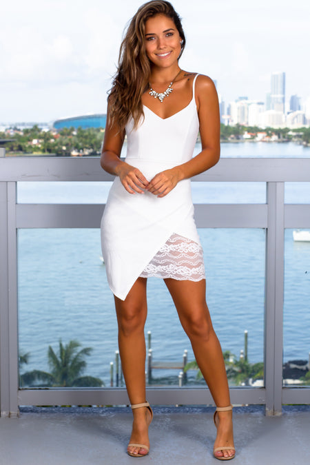 Ivory Short Dress with Detail