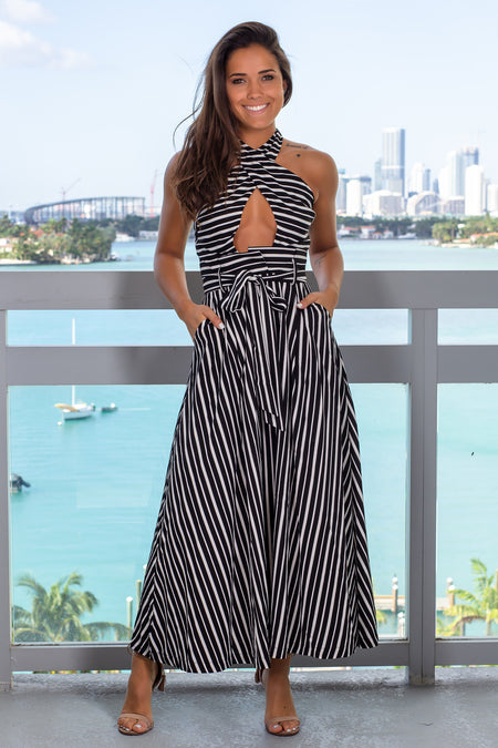 Black and White Striped Halter Neck Maxi Dress