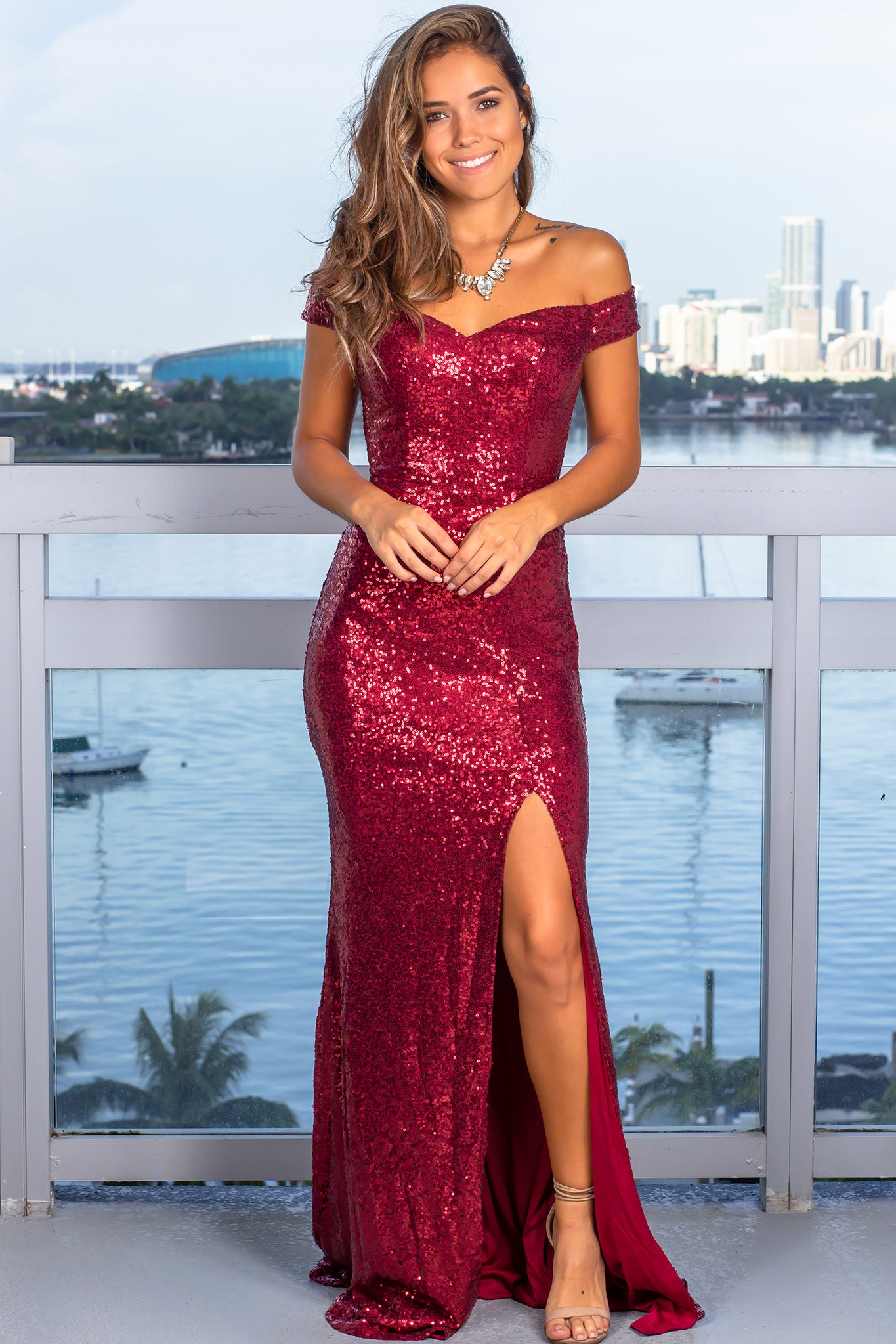 Burgundy Sequin Maxi Dress with Side Slit