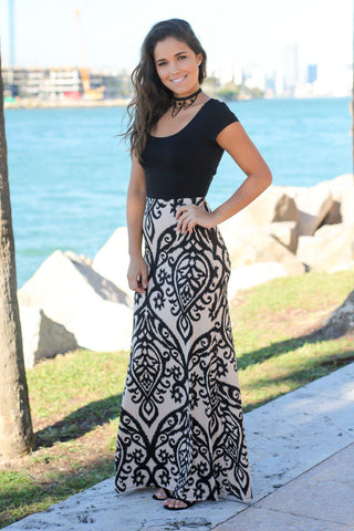 Black and Taupe Short Sleeve Maxi Dress with Criss Cross Back