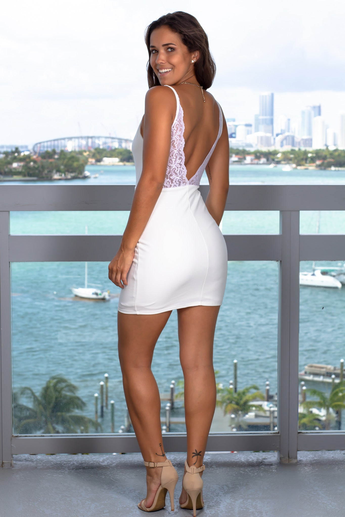 Ivory V-Neck Short Dress with Lace Back