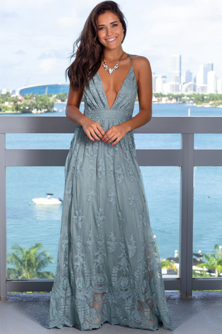 Jade Embroidered Maxi Dress with Criss Cross Back