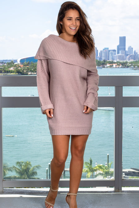 Lavender Off Shoulder Sweater Dress