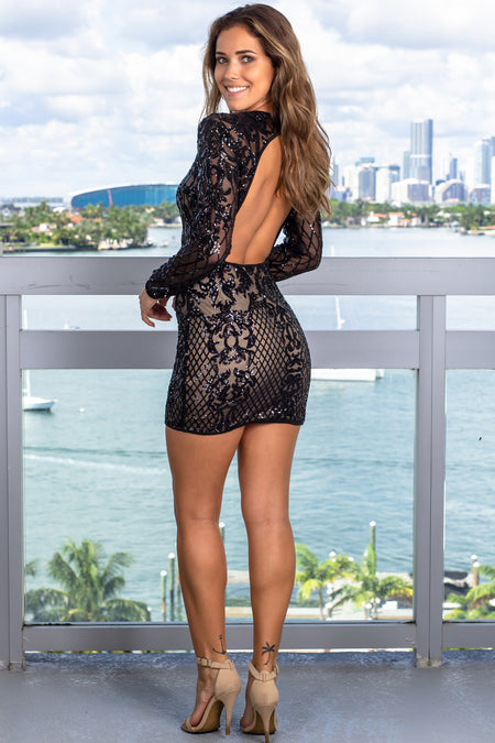 Black Black Sequin Short Dress with Sleeves