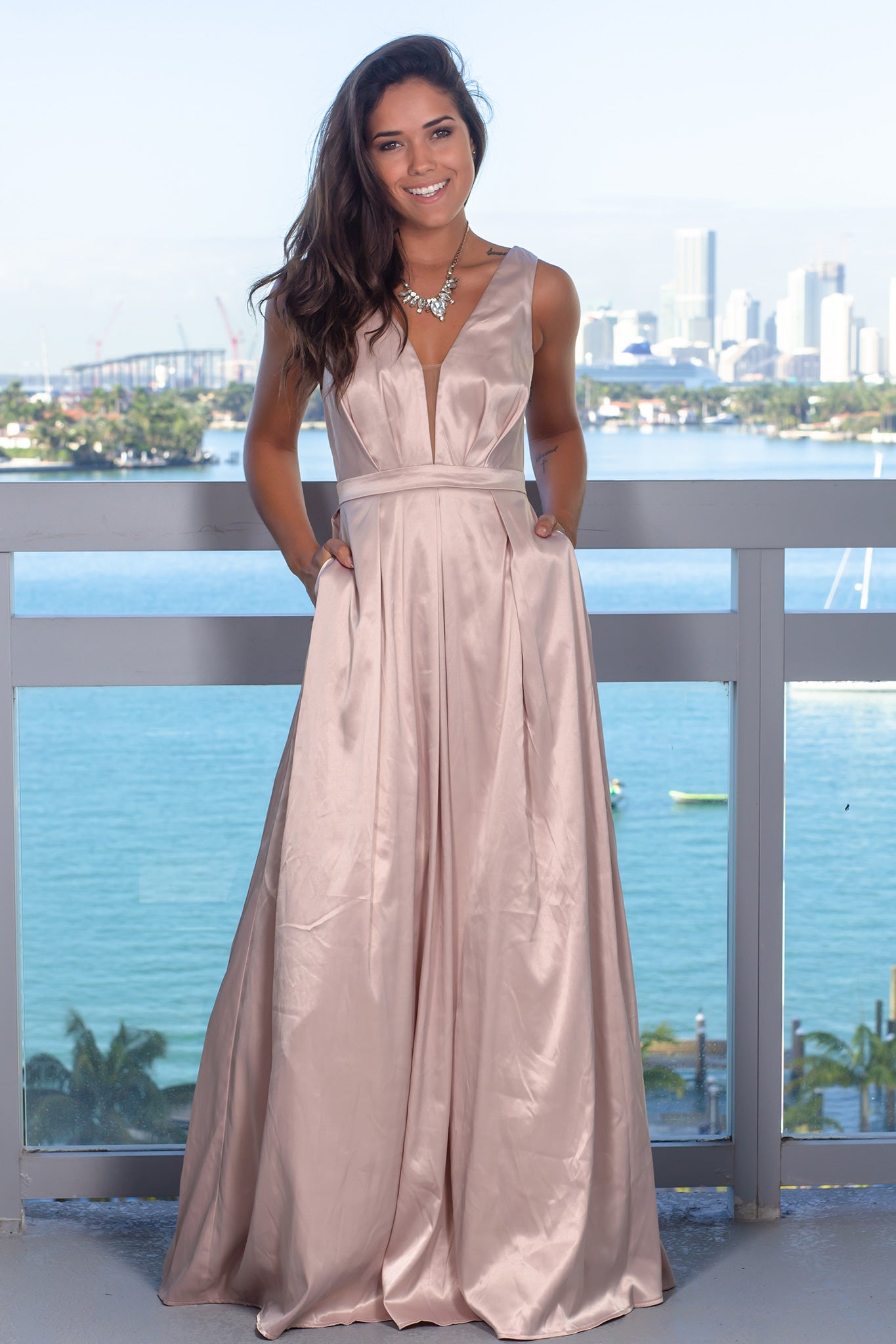Rose Maxi Dress with Pockets