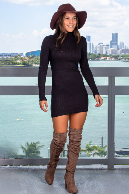 Black High Neck Bodycon Short Dress