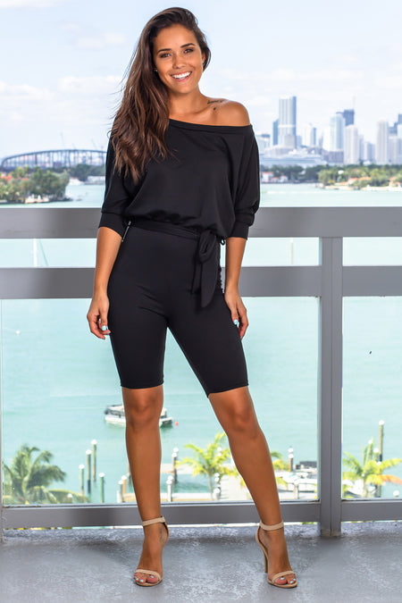 Black Romper with Tie Detail