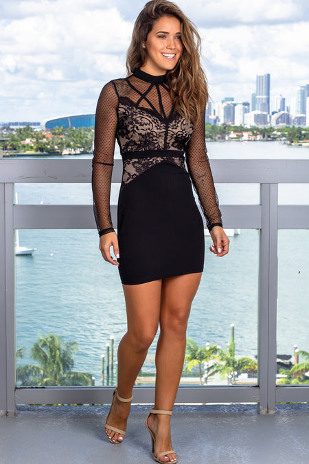 Black Short Dress with Lace Sleeves