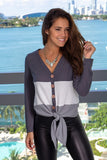 Gray Color Block Knit Top
