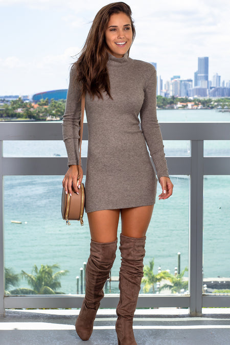 Brown High Neck Bodycon Short Dress