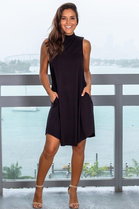 Black Sleeveless Mock Neck Short Dress