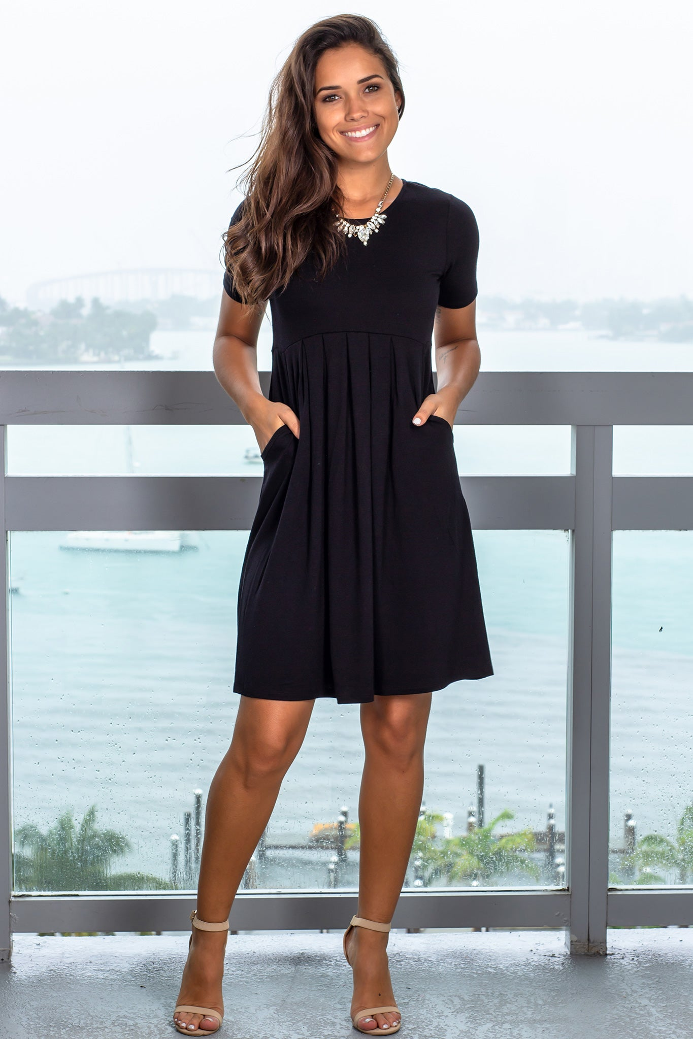 Black Short Dress with Sleeves