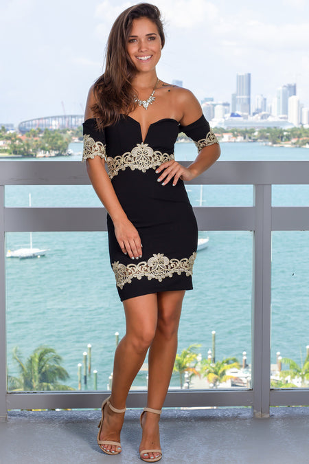 Black Off Shoulder Short Dress with Gold Details