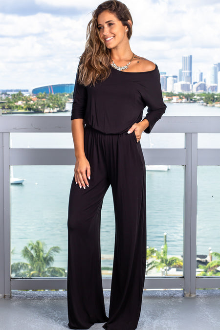 Black Jumpsuit with 3/4 Sleeves
