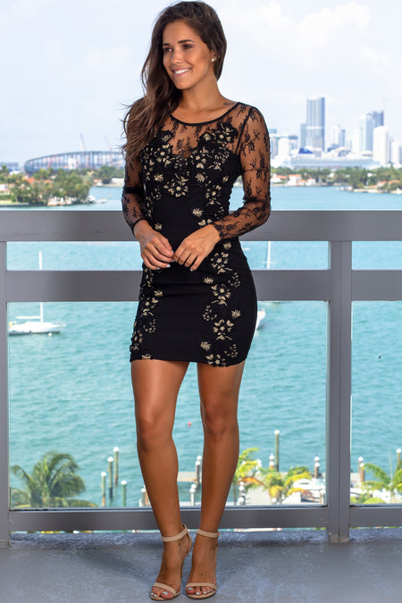 Black Short Dress with Mesh Sleeves