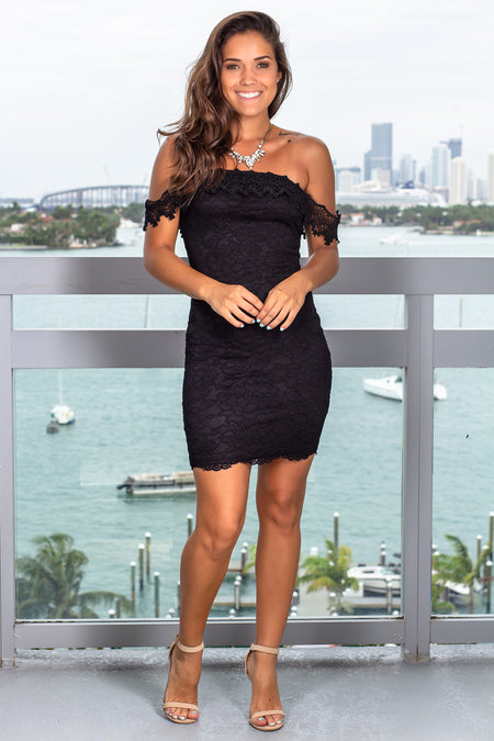 Black Lace Off Shoulder Short Dress