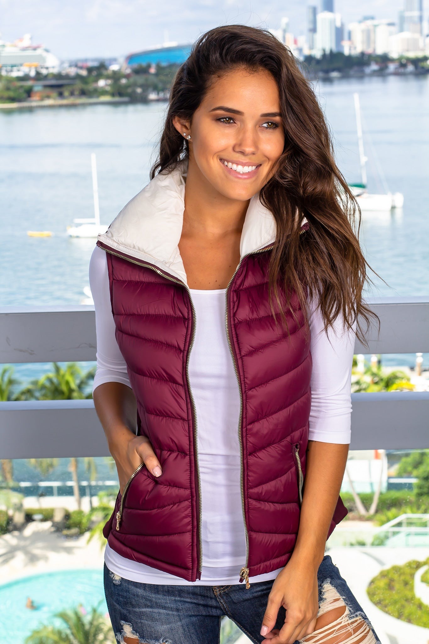 Wine and Ivory Reversible Puffer Vest