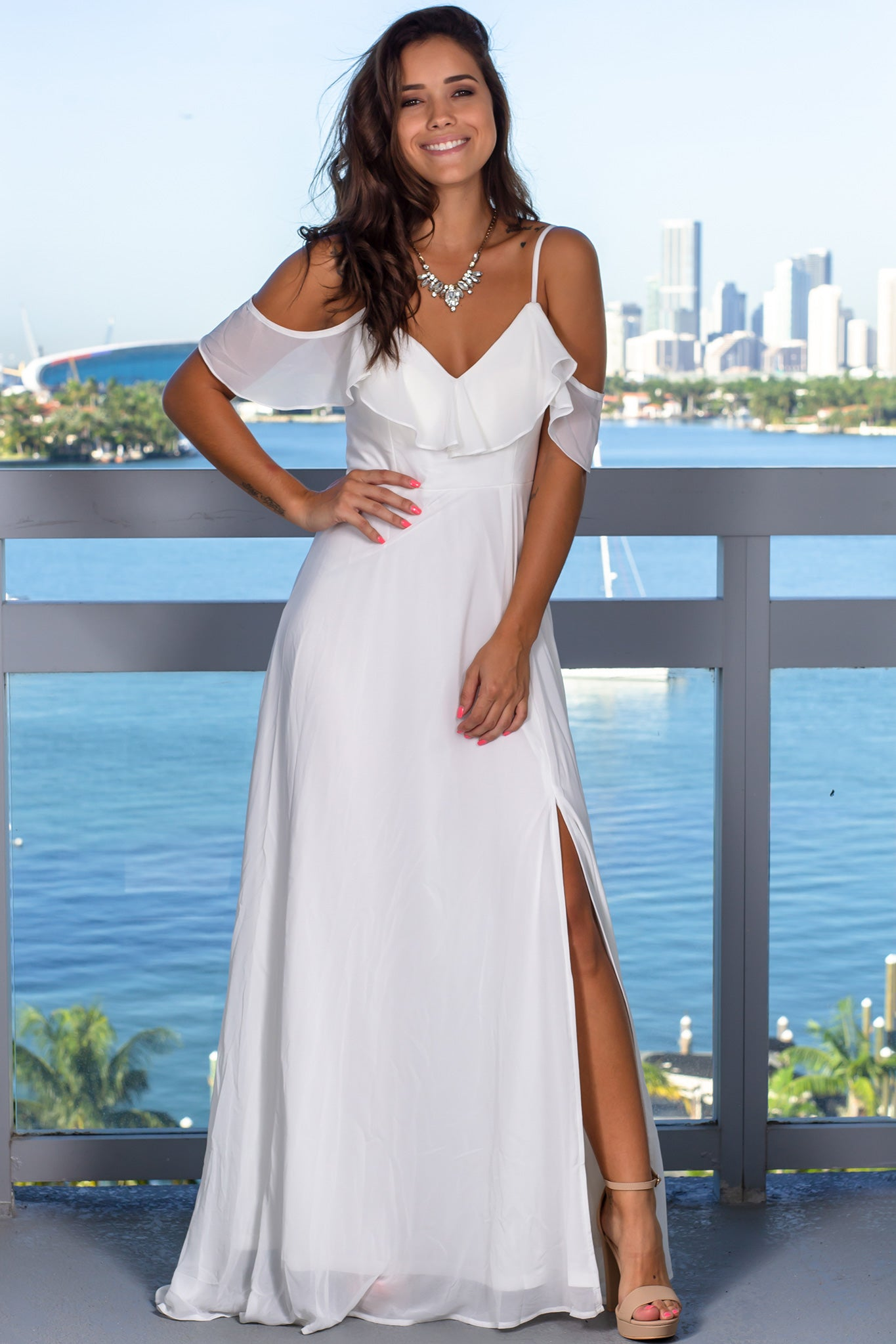 Ivory Ruffled Maxi Dress with Slit