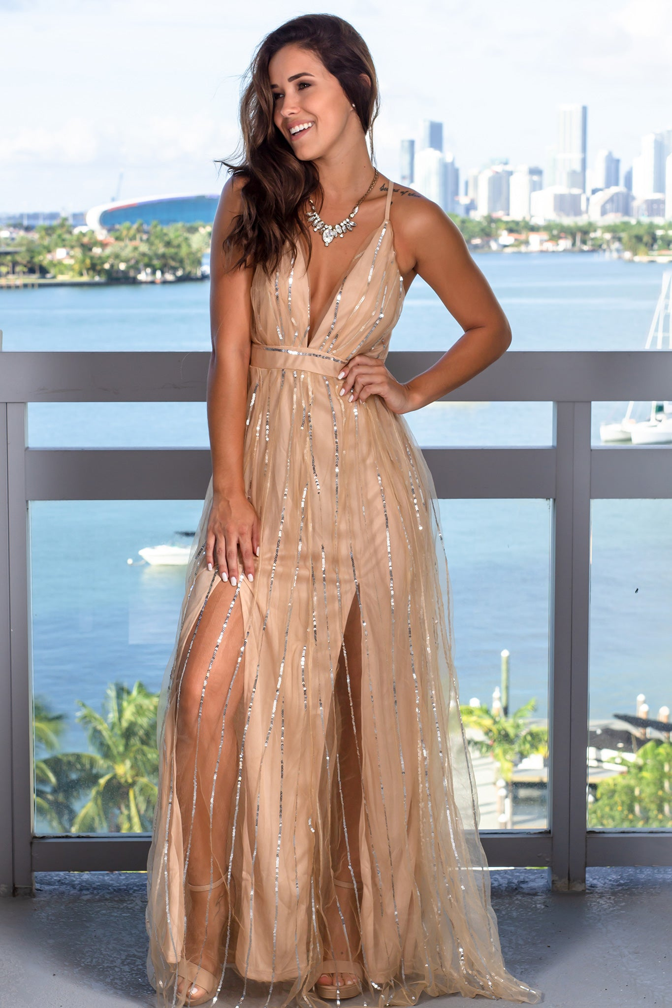 Beige Maxi Dress with Sequins