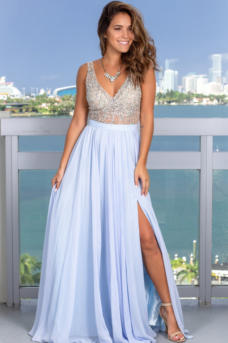 Sky Blue Maxi Dress with Silver Jewels