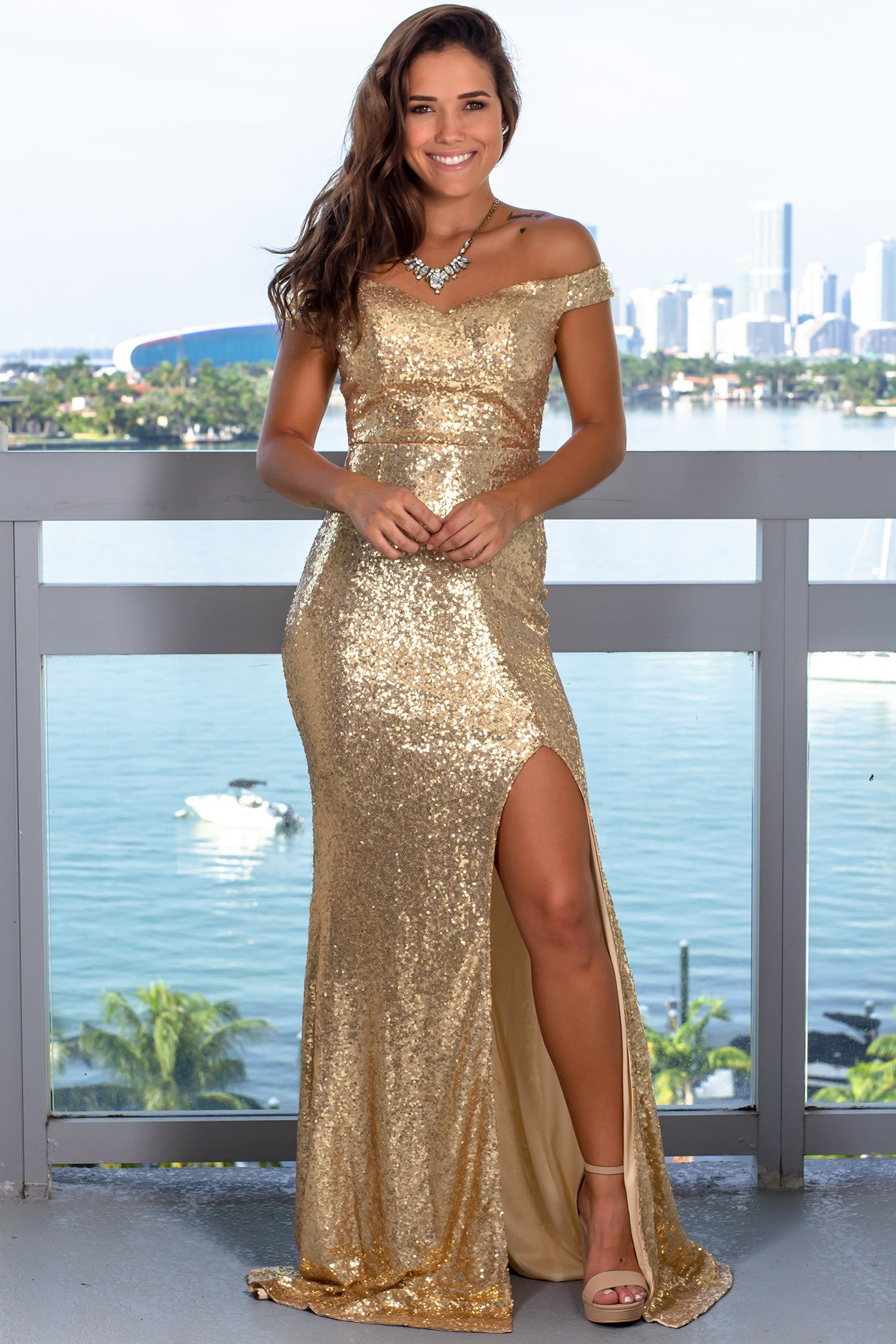 Gold Sequin Maxi Dress with Side Slit