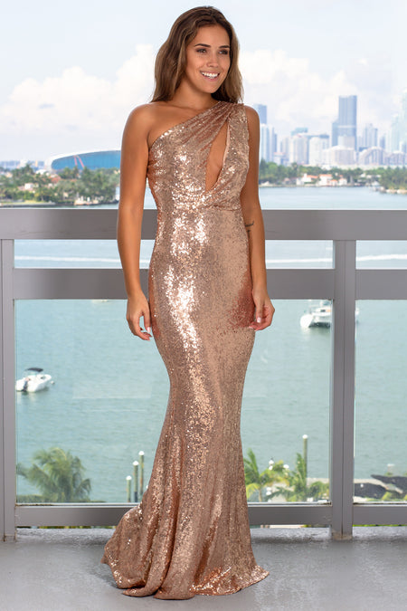 Champagne One Shoulder Sequin Maxi Dress