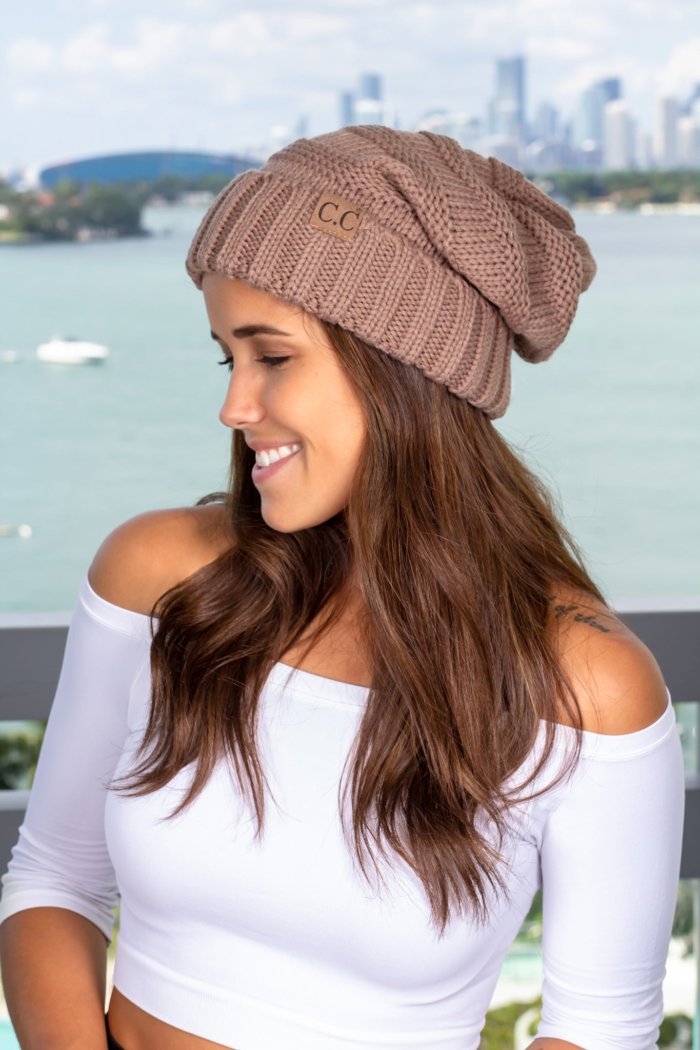 Taupe Slouchy Knit Beanie