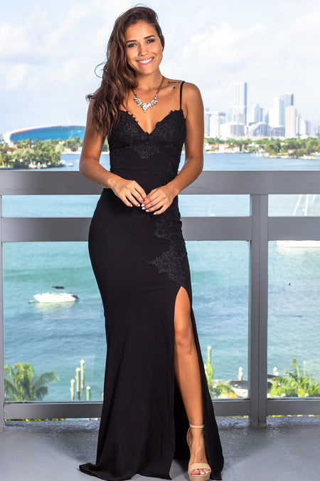 Black Embroidered Maxi Dress with Slit