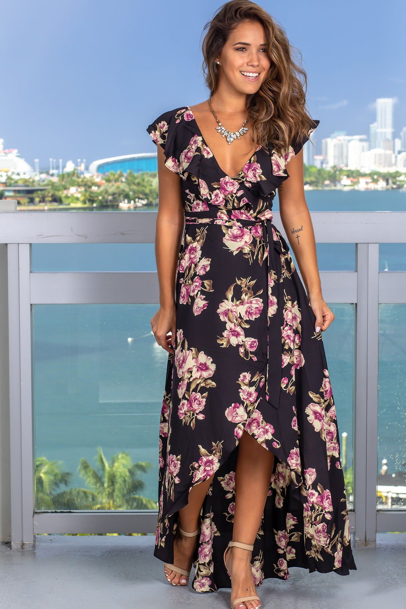 Black Rose Printed Wrap Dress
