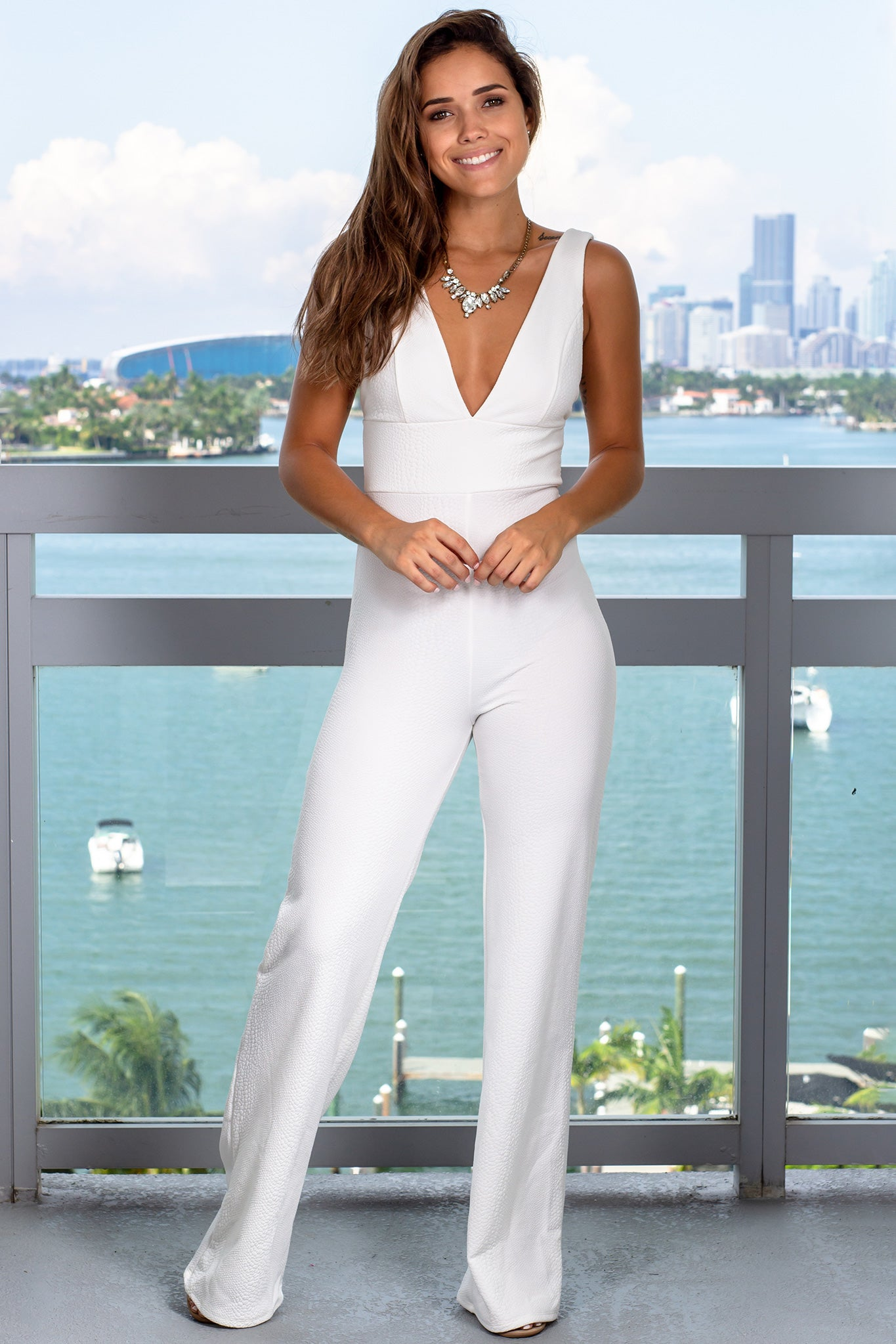 Ivory Sleeveless V-Neck Jumpsuit