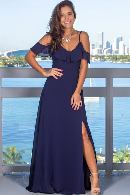 Navy Ruffled Maxi Dress with Slit
