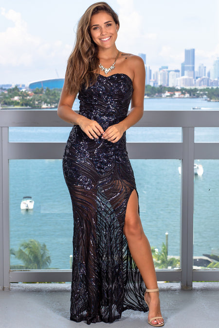 Black Strapless Sequin Maxi Dress