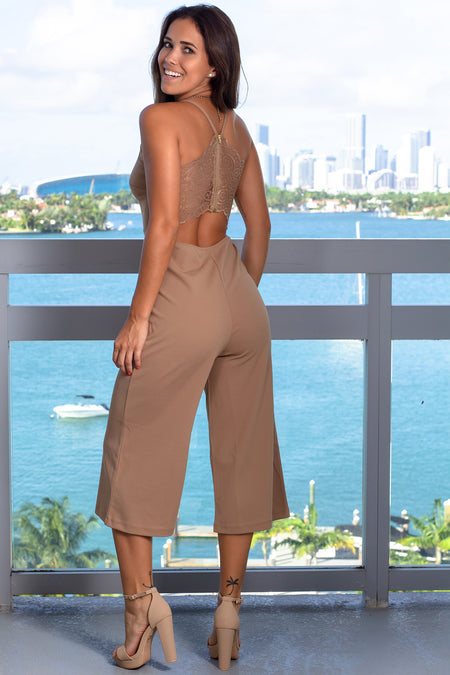 Taupe Jumpsuit with Lace Back