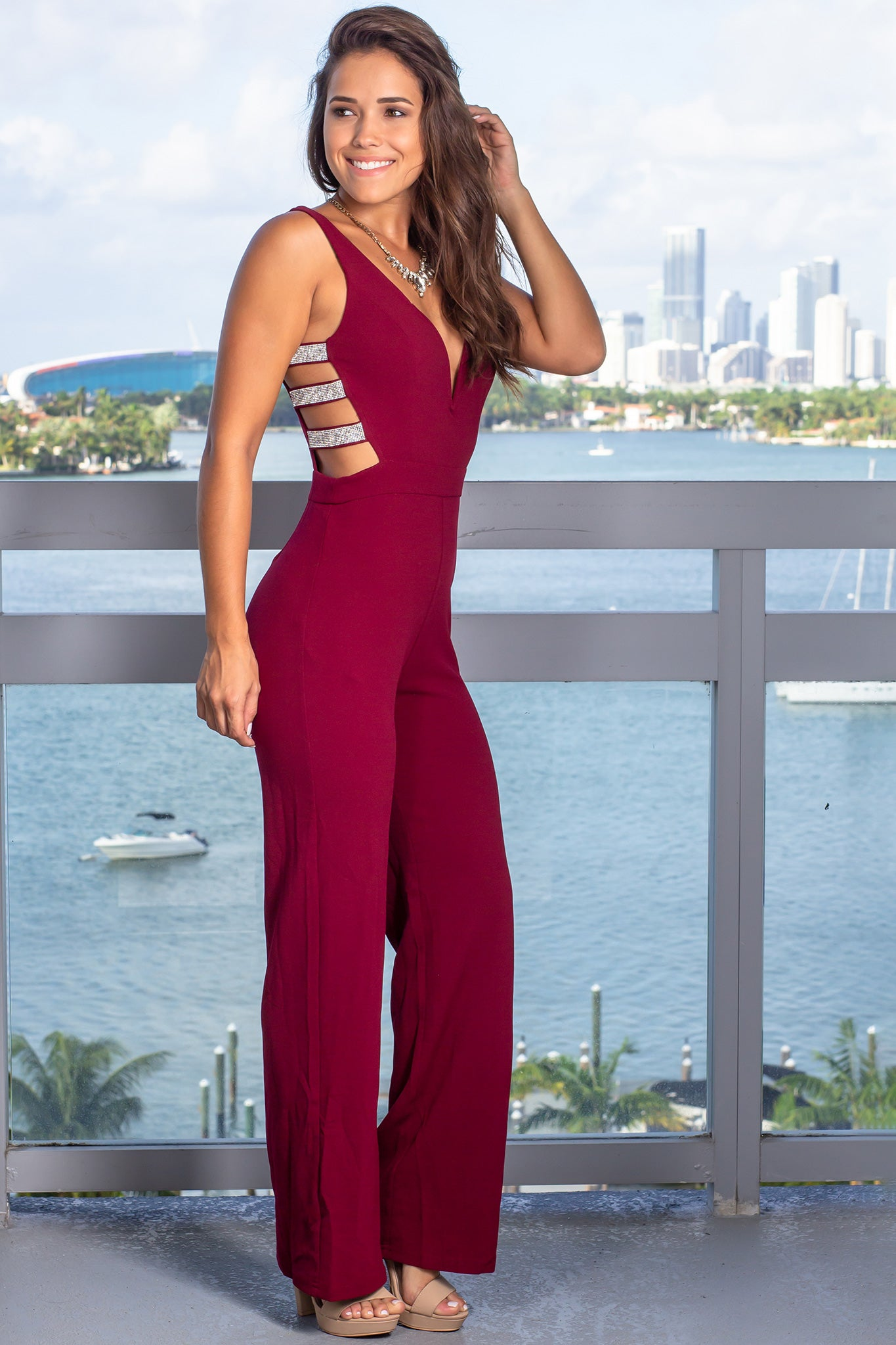 Burgundy Jumpsuit with Rhinestones