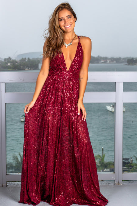 Wine Sequin Maxi Dress
