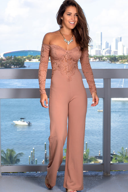 Taupe Lace Off Shoulder Jumpsuit
