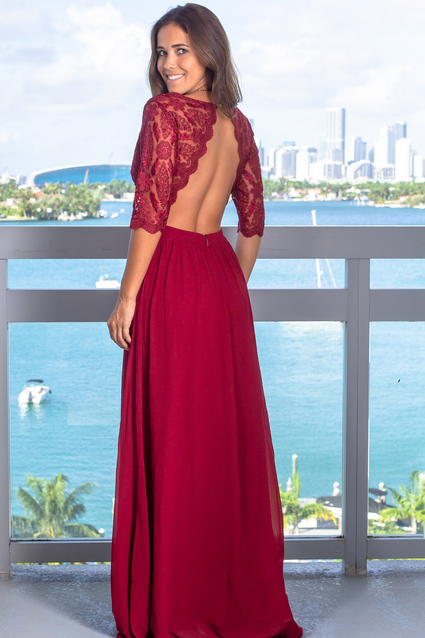 Burgundy Embroidered Top Maxi Dress