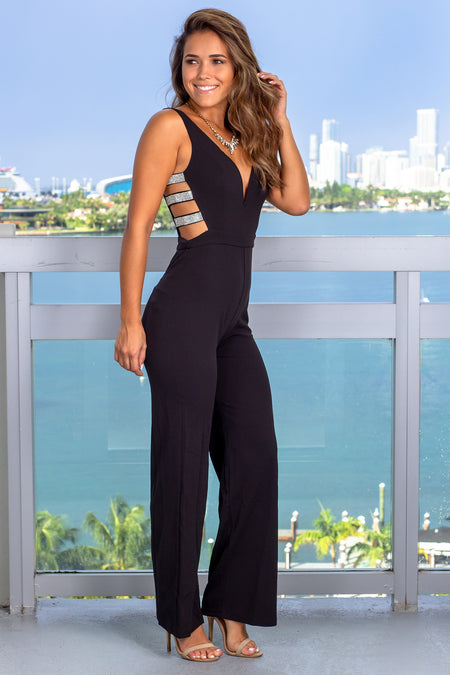 Black Jumpsuit with Rhinestones