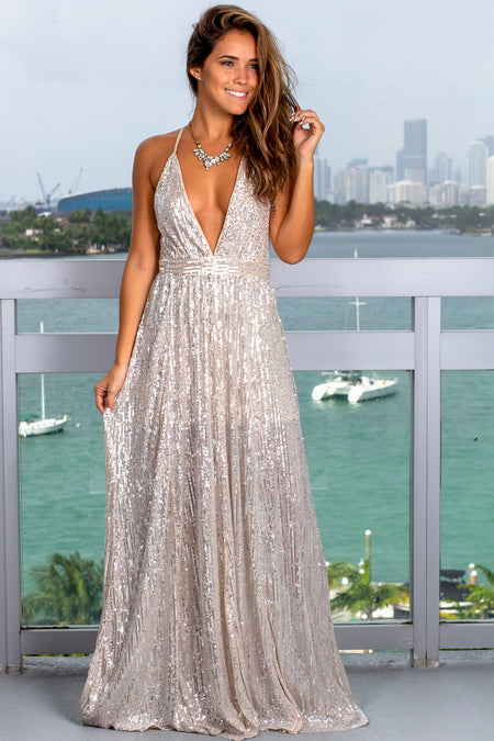 Beige and Silver Maxi Dress with Sequins
