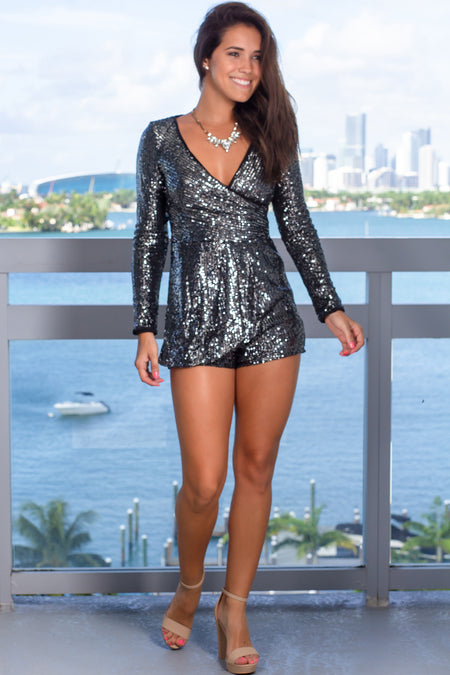 Gray Sequin Romper