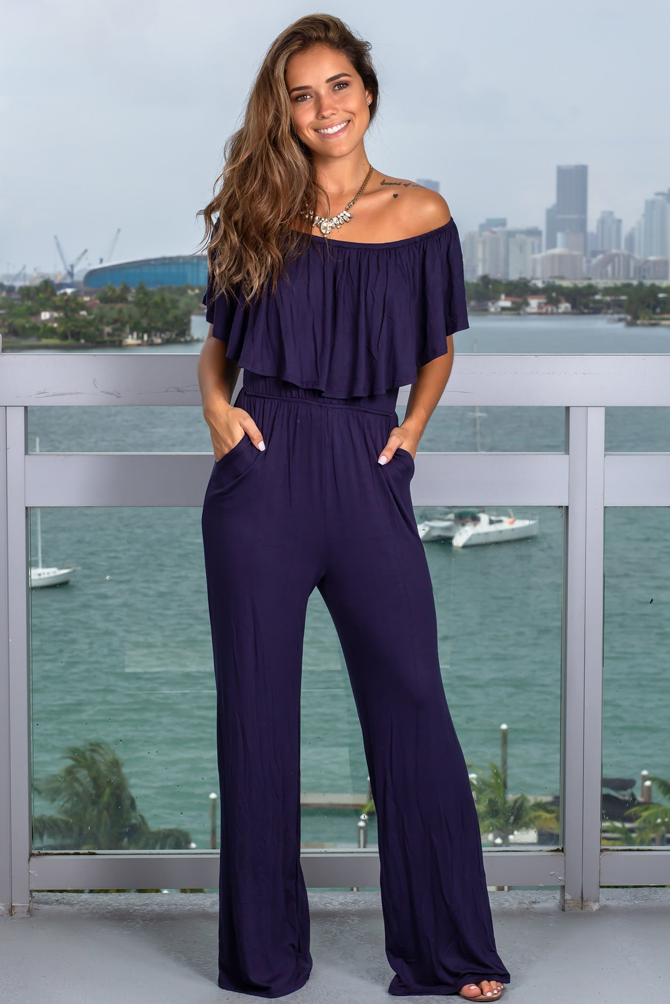 Navy Ruffled Off Shoulder Jumpsuit