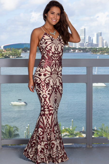 Burgundy and Beige Sequin Maxi Dress